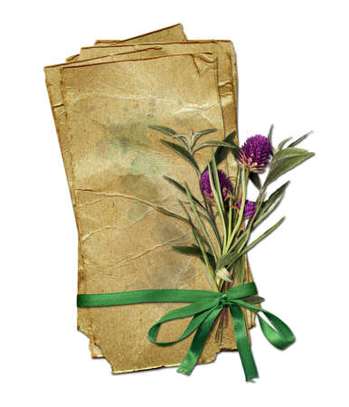 old grunge paper with bouquet and bow photo