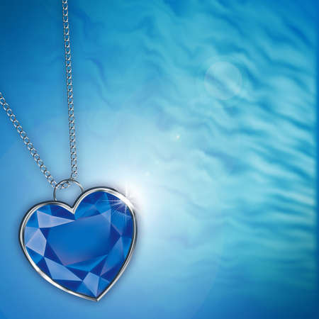 card with blue diamond heart for design photo
