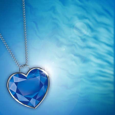 bodas de plata: tarjeta con corazón de diamante azul para el diseño Foto de archivo
