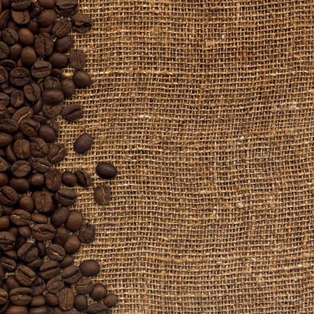 sacking: card with coffee beans on background sacking Stock Photo
