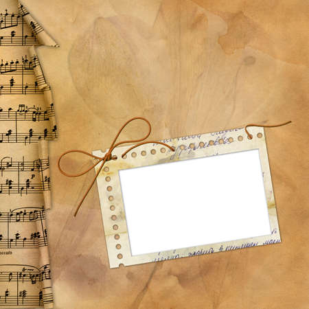 frayed: Old background with musical border and frame