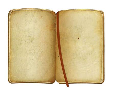 threadbare: open old grunge book on isolated background