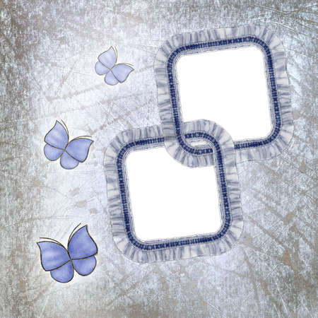 grunge background with jeans frames and butterfly  photo