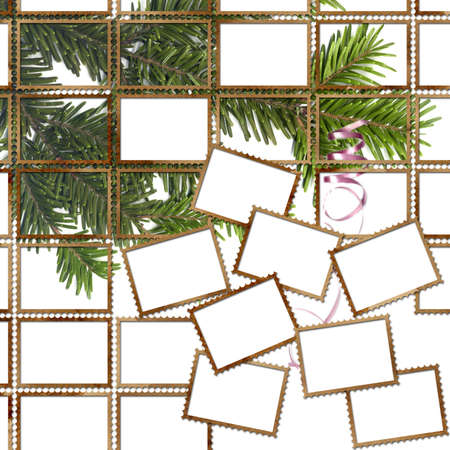 lacet: Poster with postage stamps and christmas tree