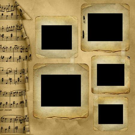 mud slide: Old slides for photo on musical background Stock Photo