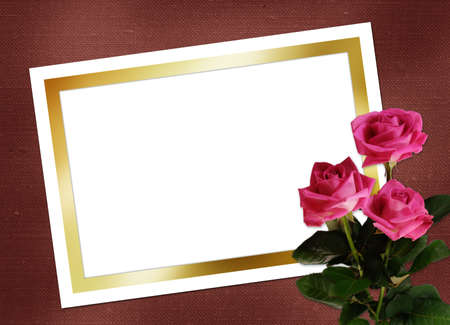 muddy: Sheet for design with bouquet pink roses Stock Photo