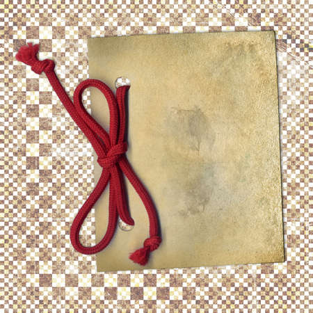 threadbare: Old paper with rope on abstract background