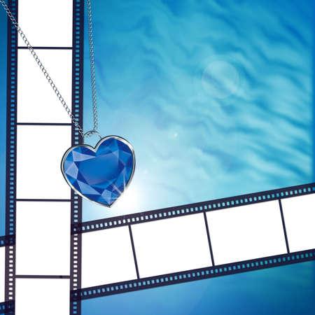 coeur diamant: Film sur fond de c?ur losange bleu  Banque d'images