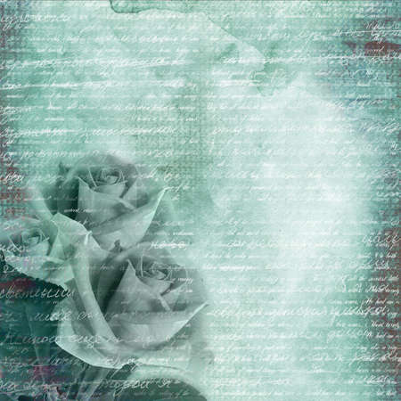 Glamour blue background with bouquet of roses photo