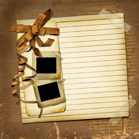 Grunge card with slides and brown bow photo
