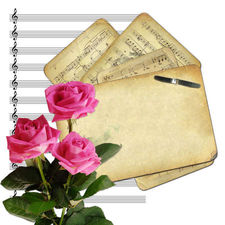 Old papers for design on musical background photo