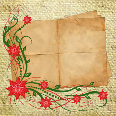 Card for design with sheet and flowers  photo