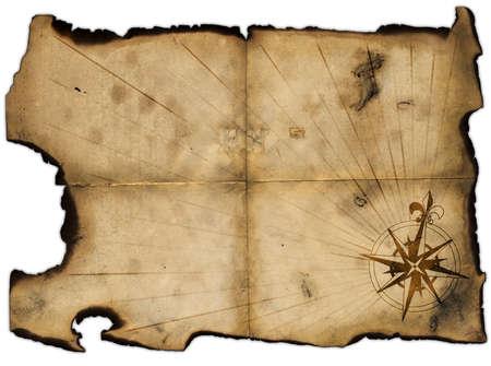 quemado: Antiguo en blanco del mapa de piratas para dise�o de
