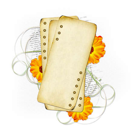 Card for design with sheets and flowers