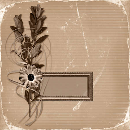 Frame with bouquet on old grunge background  photo