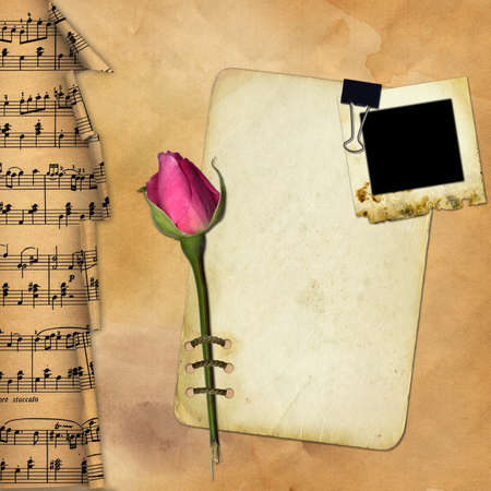 Grunge paper with rose on musical background  photo