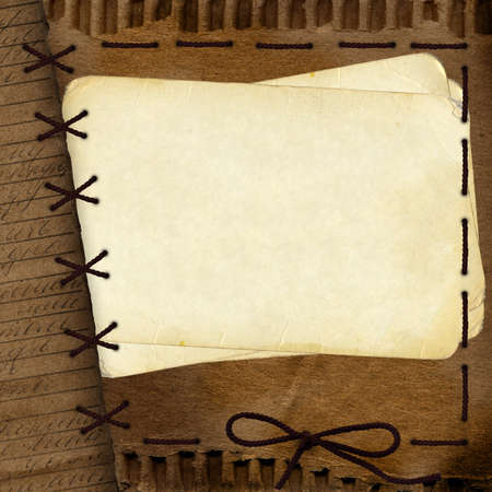 Old cardboard background for design with rope  photo