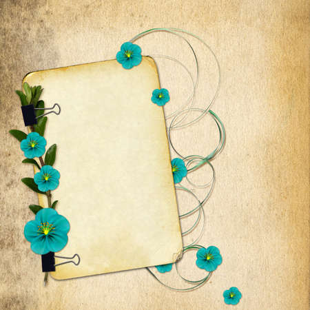 Paper with flowers on old grunge background Stock Photo - 7032511