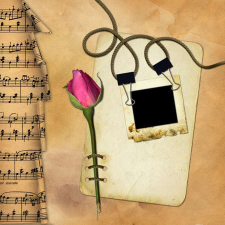 Grunge paper with rose on musical background Stock Photo - 7218473