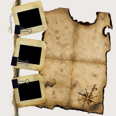 Folien für Foto mit leeren Piraten-Karte  Standard-Bild - 7218450