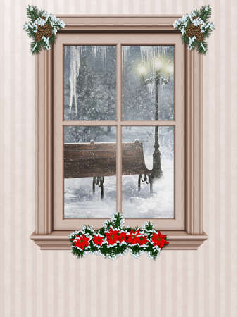 festively: a festively decorated window with a winter landscape - isolated on white
