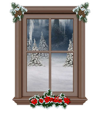 a festively decorated window with a winter landscape - isolated on white