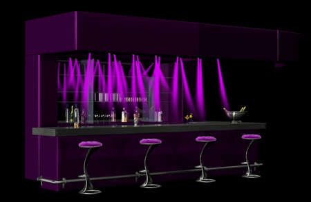 barstools: A purple cocktail bar