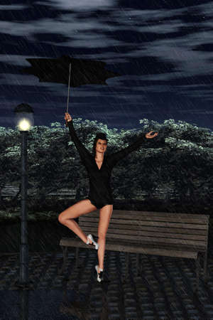 A beauty woman sings and dances in the rain photo