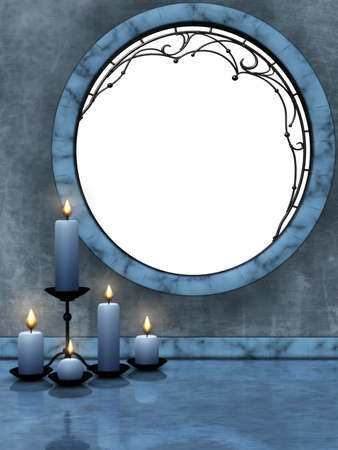 candleholders: beautiful blue candles on the ground reflected Stock Photo