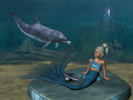 a little Mermaid with a dolphin photo