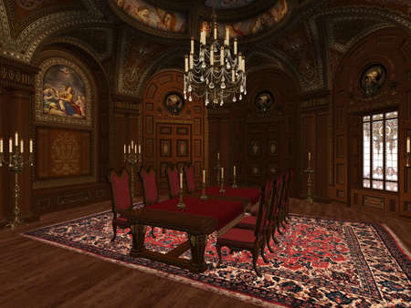 castle interior: a dining room in the medieval style Stock Photo