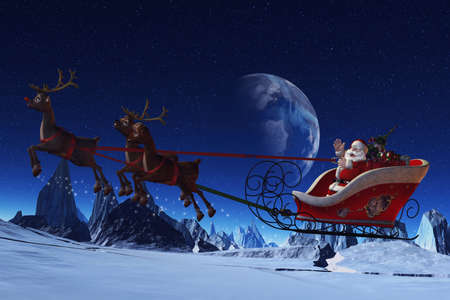 Santa Claus is flying in his sleigh and his reindeer