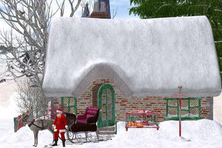Santa Claus makes slowly on the way Stock Photo