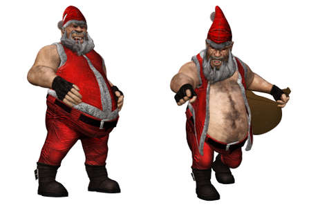 wishlist: an evil Santa Claus with red eyes - isolated on white Stock Photo