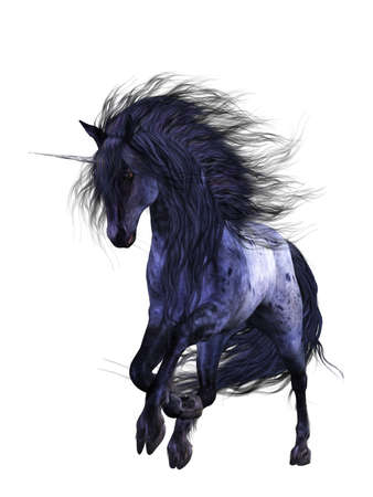 a magnificent blue unicorn - isolated on white Stock Photo