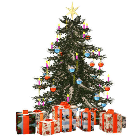 a beautiful Christmas tree with gifts - isolated on white