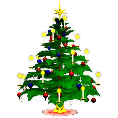un árbol de Navidad hermoso - aislado en blanco