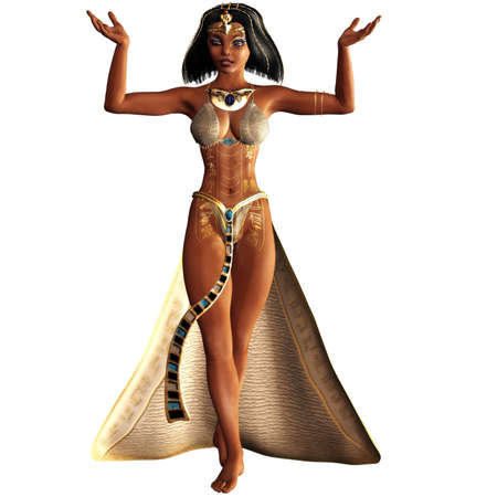 alexandria egypt: Cleopatra, the last female pharaoh - isolated on white