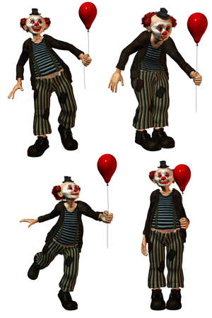 a funny clown in the show with a balloon - isolated on white photo
