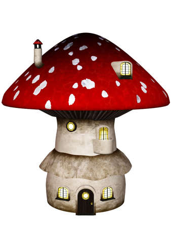 a little Mushroom House - isolated on white