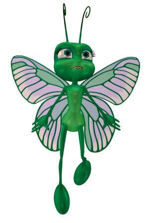 a green cartoon fly - isolated on white Stock Photo