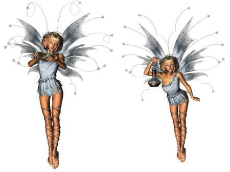 a beautiful forest fairy pack - isolated on white Stock Photo
