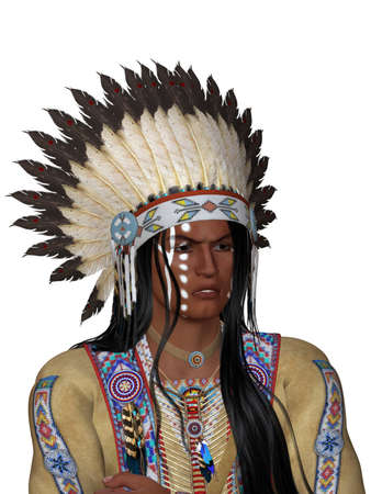 face indian with war bonnet - isolated on white
