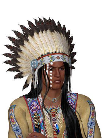 apache: India se enfrentan con guerra bonnet - aislado en blanco Foto de archivo