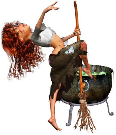 una bruja poco bailando en el caldero de brujas Foto de archivo - 9145584