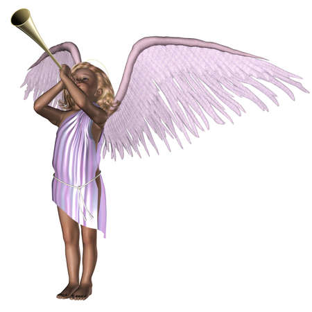 angel 3d: a cute little angel - isolated on white Stock Photo