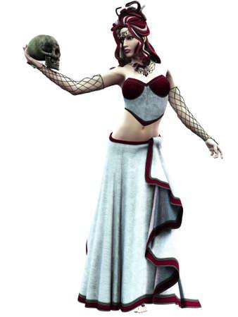medusa: Medusa, the daughter of the sea gods - isolated on white