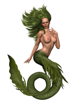 3d nude: a sexy mermaid girl - isolated on white