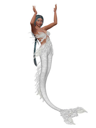 a Beautiful mermaid girl - isolated on white