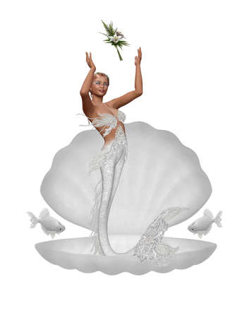 3d mermaid: a mermaid throw the bridal bouquet - isolated on white Stock Photo